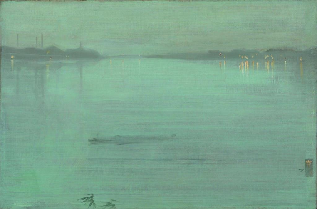 James Abbott McNeill Whistler, Noctune en bleu et argent : les lumières de Cremorne, huile sur bois, 1872
