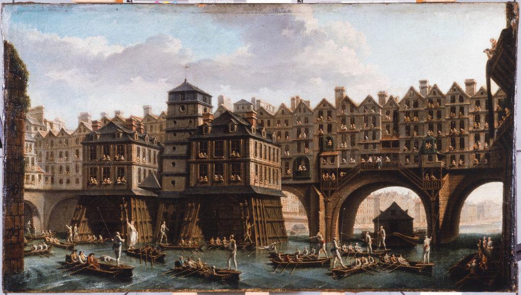 """Nicolas et Jean-Baptiste Raguenet """"La Joute des mariniers, entre le pont Notre-Dame et le pont au Change"""". 1751."""