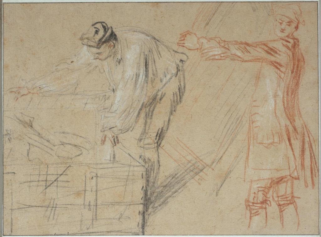 """Jean-Antoine Watteau (1684-1721). """"Etude pour les deux figurines d'emballeurs de l'enseigne de Gersaint"""". Dessin, 1720."""