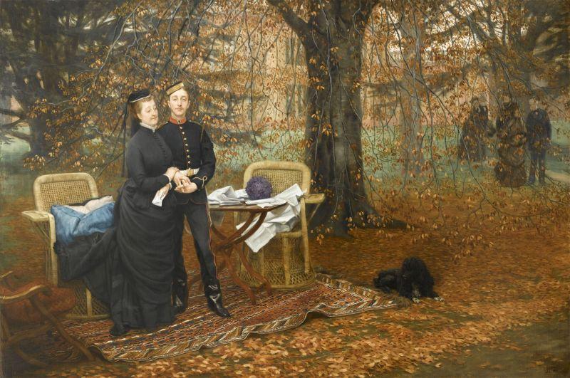 James Tissot, L'impératrice Eugénie et le prince impérial dans le parc de Camden Place, Chislehurst, 1874-1875