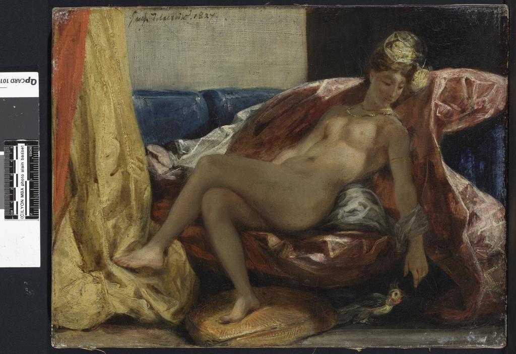 Eugène Delacroix, Femme nue au perroquet, entre 1826 et 1829.