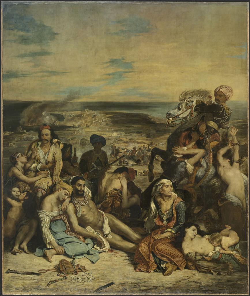 Eugène Delacroix, Scène des massacres de Scio, 1824.