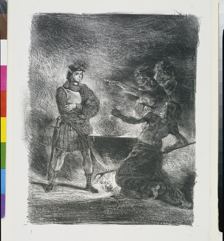 Eugène Delacroix, Macbeth et les sorcières (premier état, avant la lettre et avant la signature), 1825.