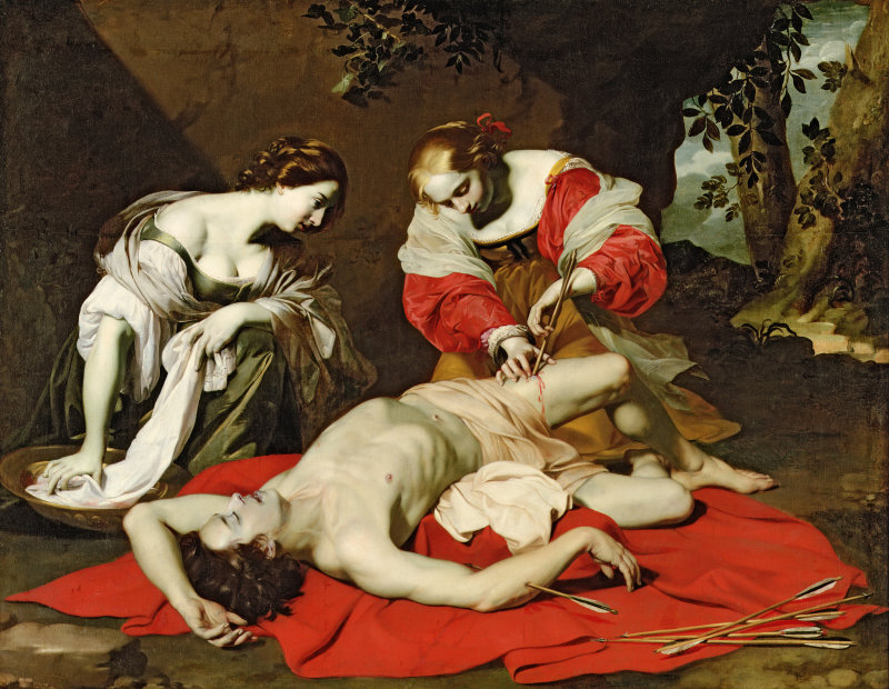 FER185685 St Sebastian Tended by the Holy Irene, c.1625 (oil on canvas) by Renieri, Nicholas (1590-1667); 171.5x219.4 cm; Ferens Art Gallery, Hull Museums, UK; Flemish,  out of copyright