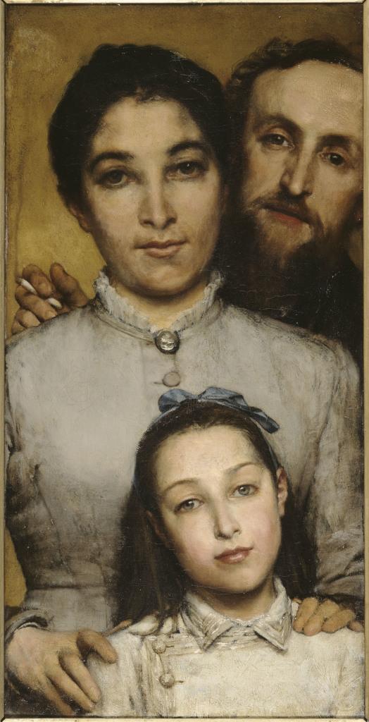 Lawrence Alma-Tadema, Portrait de Jules Dalou, sa femme et sa fille, 1876
