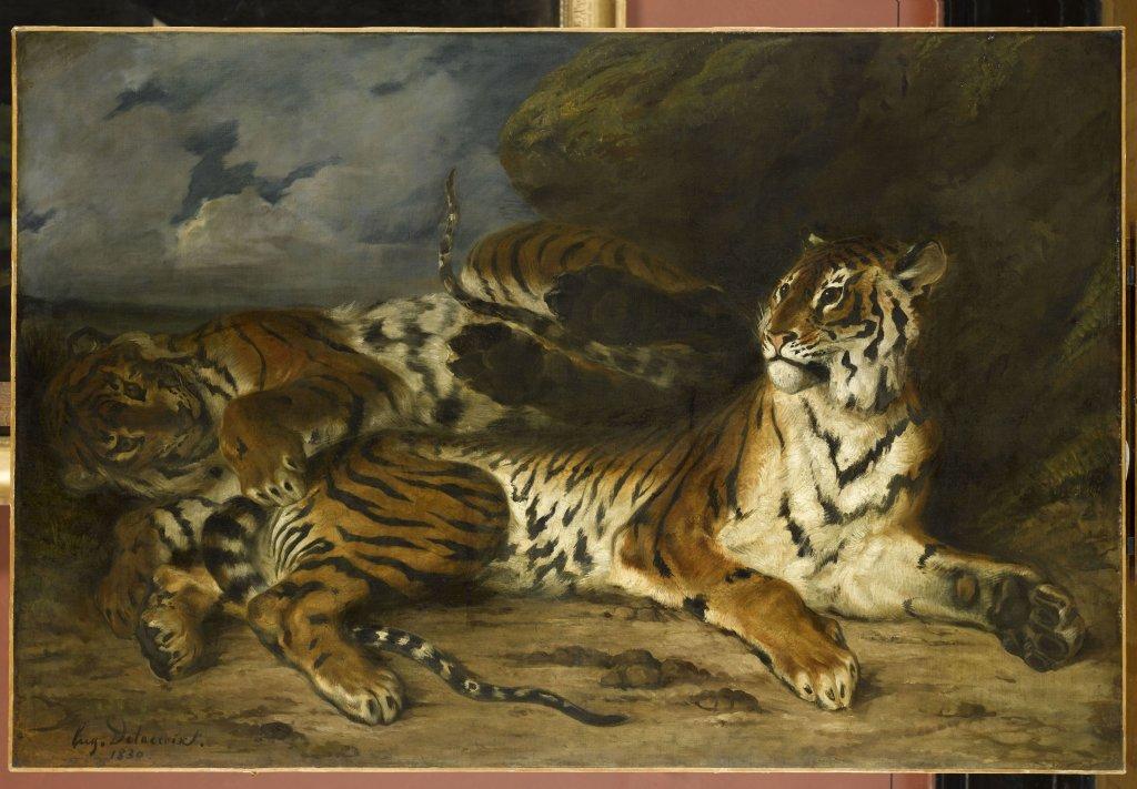 Eugène Delacroix, Jeune tigre jouant avec sa mère, 1830.