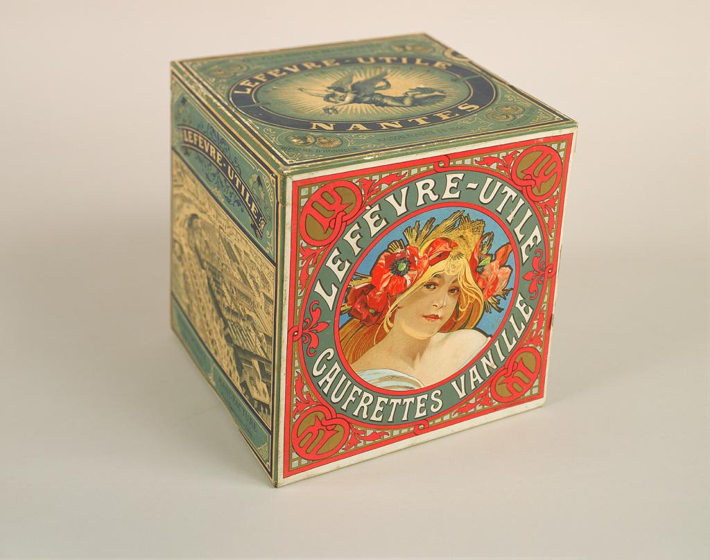 Alphonse Mucha, Boîte pour les gaufrettes vanille Lefèvre-Utile, c.1900