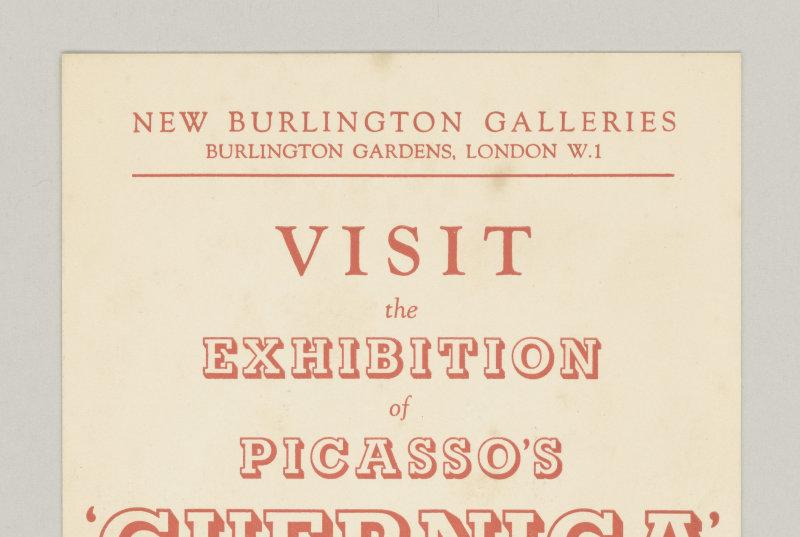 Invitation à l'exposition Picasso's Guernica(New Burlington Galleries, London, 4 -29 octobre 1938), Octobre 1938
