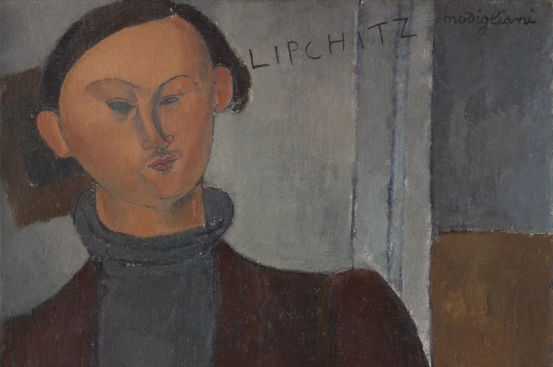 INC2968547 Jacques and Berthe Lipchitz, 1916 (oil on canvas) by Modigliani, Amedeo (1884-1920); 81.3x54.3 cm; The Art Institute of Chicago, IL, USA; (add.info.: Jacques Lipchitz (22 August 1891 – 16 May 1973), Cubist sculptor.); Helen Birch Bartlett Memorial Collection; APPROVAL REQUIRED FOR MERCHANDISE LICENSING; Italian,  out of copyright  PLEASE NOTE: Bridgeman Images works with the owner of this image to clear permission. If you wish to reproduce this image, please inform us so we can clear permission for you.