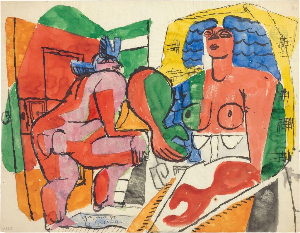 Le Corbusier, Étude sur le thème de la pyrénéenne et nu féminin passant la porte, 1940