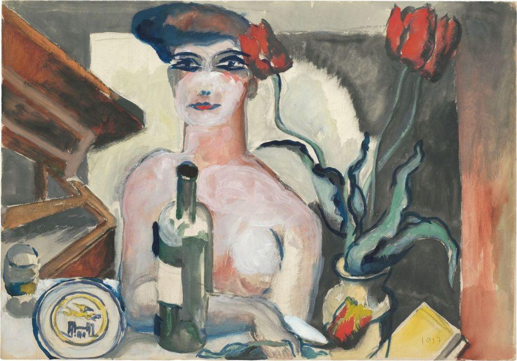 Le Corbusier, Nu féminin attablé au bouquet de tulipes, 1917