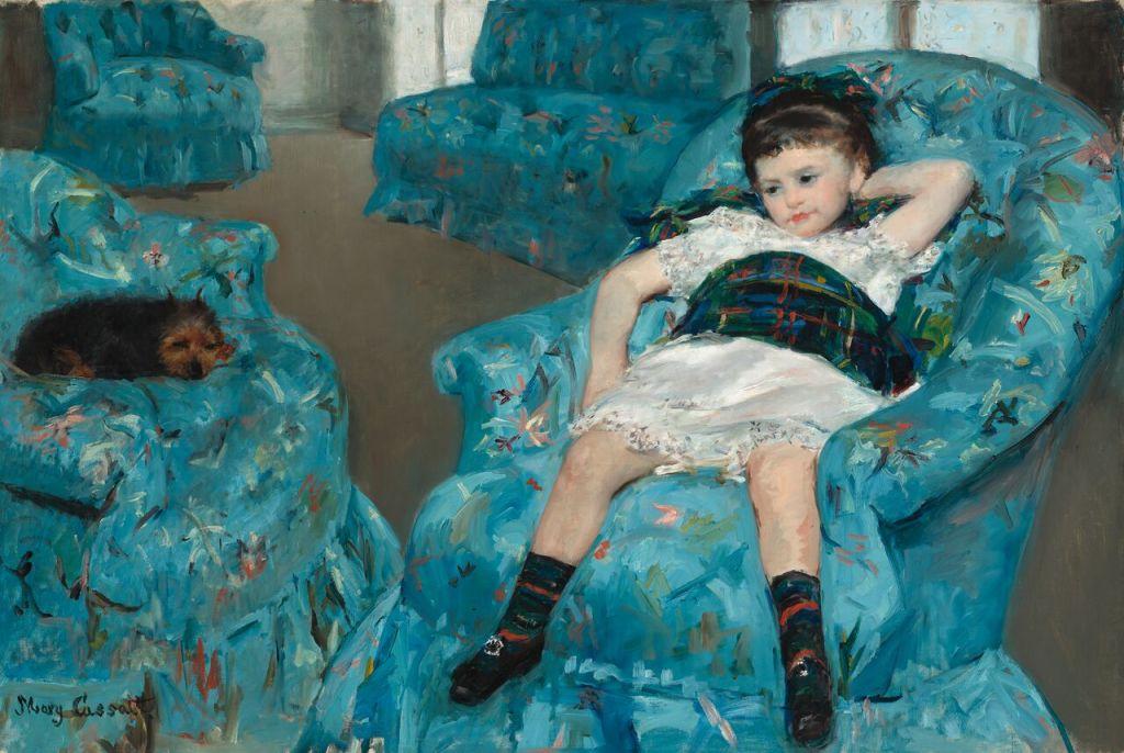 Mary Cassatt, Petite Fille dans un fauteuil bleu, 1878, Huile sur toile, National Gallery of Art, Washington D.C., Collection of Mr. And Mrs. Paul Mellon