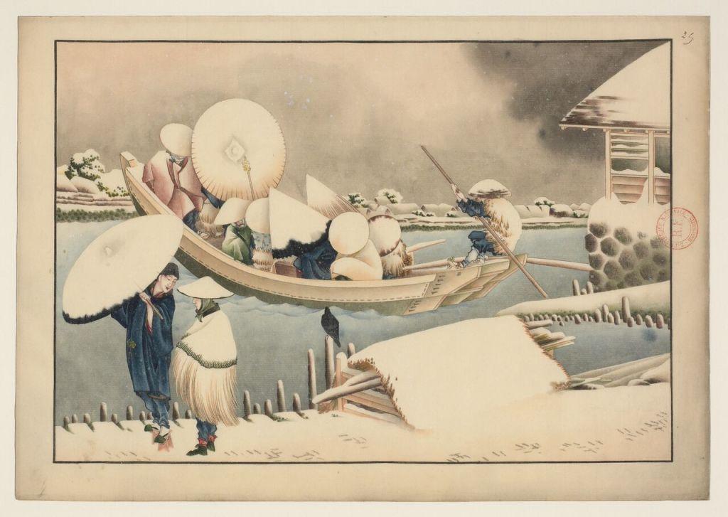 Le bac sous la neige Vers 1823-1826 Non signé. Attribué à Katsushika Taito II Lavis de couleur et encre sur papier