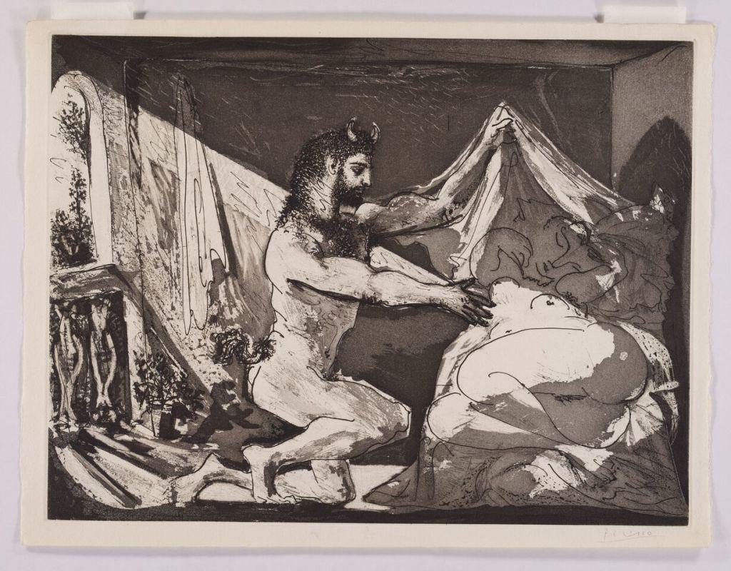 Pablo Picasso, Faune dévoilant une dormeuse (Jupiter et Antiope, d'après Rembrandt), 12 juin 1936