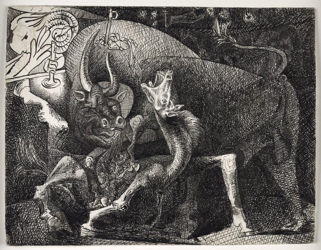 Pablo Picasso, Femme à la bougie, combat entre le taureau et le cheval, 1934