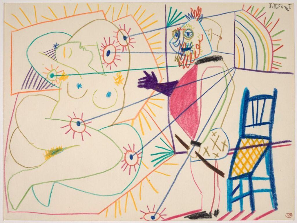 Pablo Picasso, Le Peintre masqué et son modèle, 1er février 1954