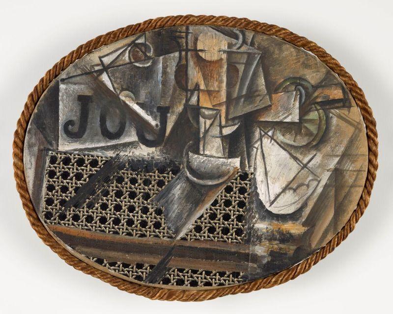 Pablo Picasso, Nature morte à la chaise cannée, printemps 1912