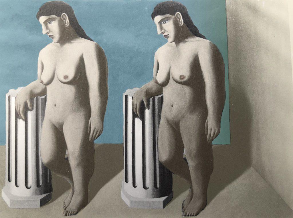 René Magritte, La pose enchantée (recolorisée)