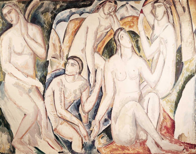 ELC849712 Bathers, by Andre Derain, c. 1908, 20th Century, oil on canvas, 180 x 223 cm by Derain, Andre (1880-1954); 180x223 cm; Narodni Galerie, Prague, Czech Republic; (add.info.: Whole artwork view. A group of five bathers made synthetically and with uniform tones. CREATOR: Andre Derain LOCATION: National Gallery, Prague, Czech Republic); Mondadori Portfolio/Walter Mori; ITALIAN RIGHTS NOT AVAILABLE; French,  in copyright  PLEASE NOTE: This image is protected by the artist's copyright which needs to be cleared by you. If you require assistance in clearing permission we will be pleased to help you.