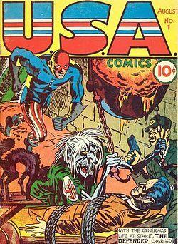 U.S.A Comics, Vol. 1 # 1, couverture de Jack Kirby, Marvel, août 1941