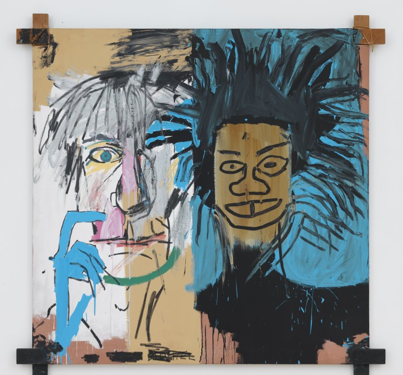 Jean-Michel Basquiat Dos Cabezas , 1982 Acrylic and oil paintstick on canvas 152,4 x 152,4 x 2,54 cm Œuvre n°113 COPYRIGHT : Crédit artiste : © Estate of Jean-Michel Basquiat Licensed by Artestar, New York ; Mention obligatoire : Private Collector Crédit photo : © Robert McKeever