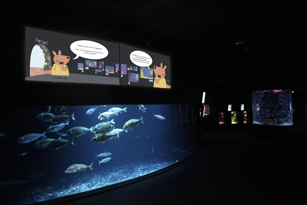 Vue de l'exposition Peppa Pig à l'Aquarium de Paris